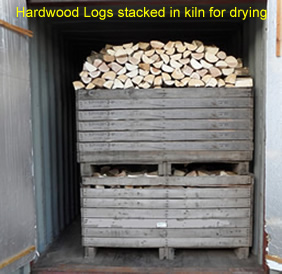 Hardwood Logs in kiln